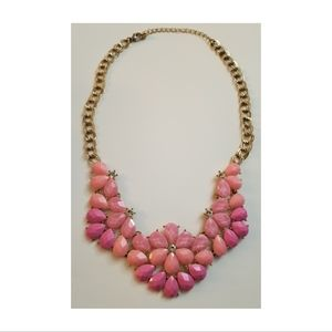 Bright Pink & Gold Statement Bib Necklace